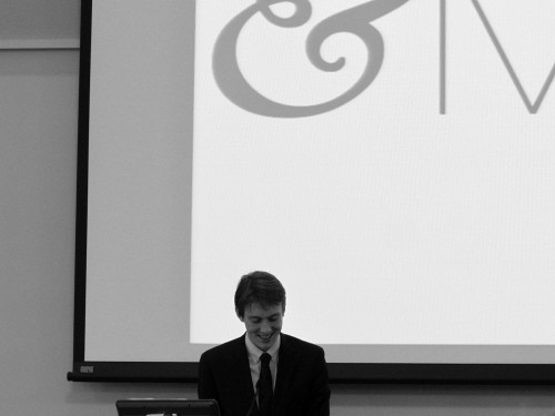 Connor Smith, Secretary-General of &MUN I and Director of the Ad-Hoc Committee for &MUN II, presents the awards for his committee at Closing Ceremonies.