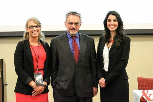 Ambassador Patrick Theros with Secretary-General Rachel Fybel (left) and Director of External Relations Alexcia Chambers (right).  (Photo Credit to Harini Manikandan, Molly Menickelly, and Carly Lin of &MUN.)