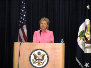 Former Secretary of State Hillary Clinton address Global Classrooms Washington, DC Conference at the US Department of State in 2009. State Department Photo.