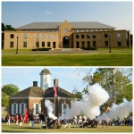 At the crossroads of Modern & Traditional: The William & Mary School of Education, where &MUN II was held (top) and history in action at Colonial Williamsburg (bottom).