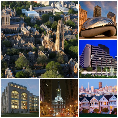 Look familiar? Sites and sights of Model UN conferences, clockwise from top left corner: Yale University campus, Chicago cityscape, NCSC host hotel in Bethesda, San Francisco iconic view, Philadelphia City Hall near the UPMUNC hotel,  and Jefferson Library at West Point.