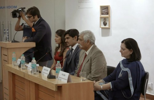 L to R: Siddhant Bajaj (Chair of UNSC), Priyanka Sethy (DG), Ajay Sabharwal (SecGen), Maj GD Bakshi, Payal Chawla Credits: Abhishek Salunkhe