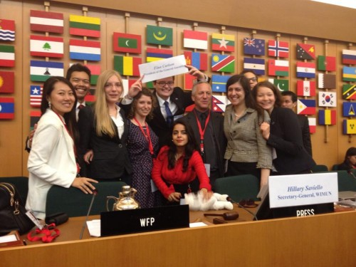 North American, THIMUN, and UN4MUN procedures have thrived in Europe. Pictured here is the WFUNA International MUN conference held in Rome where UN4MUN procedure was used.