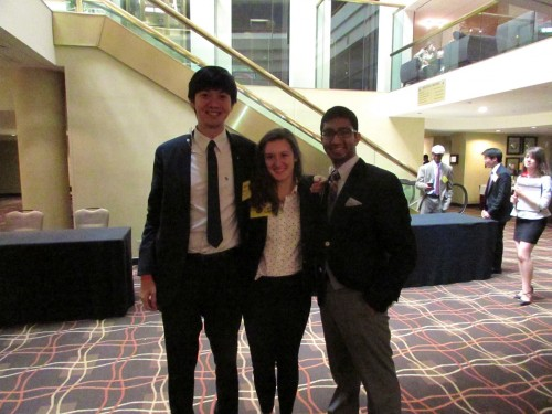 From left to right: Jeffrey Lin, Ashley Lozier, and Rahul Desai pose after their Best Delegate interviews