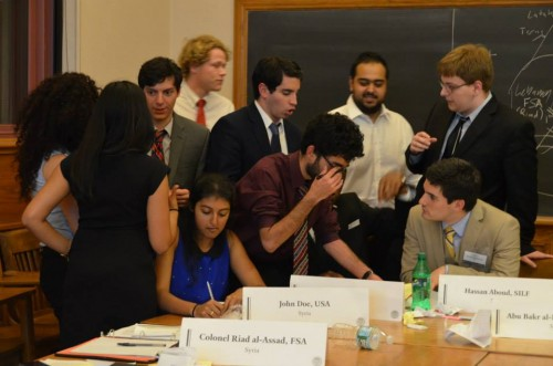 Delegates in the Syrian Civil War delve into negotiations during an unmoderated caucus.