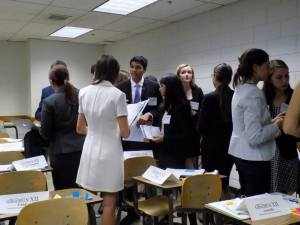 Delegates in the Commission on the Status of Women meet in an unmoderated caucus to discuss possible solutions for ending violence against women.