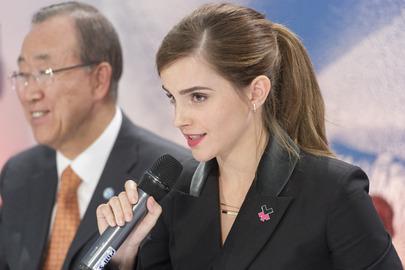 Emma Watson and Ban-Ki Moon speak at UN Women #HeForShe. Photo Credit: UN Photo / Mark Garten