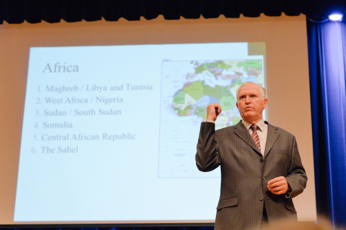 Keynote speaker Dr. David Gray highlights key security issues in Africa.