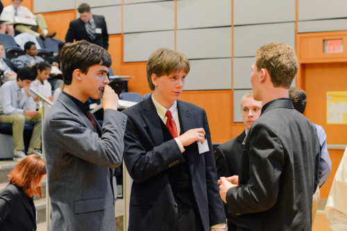Delegates in DISEC negotiate terms for a working paper on the militarization of the Arctic.