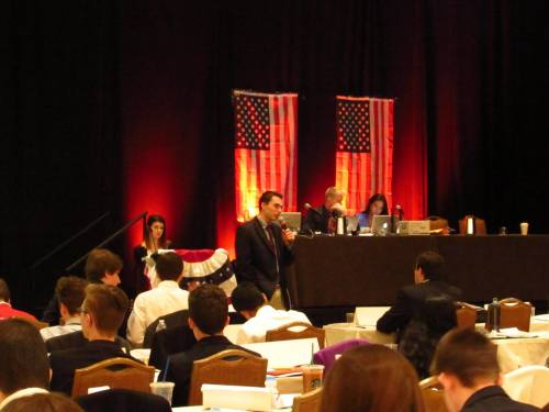 A delegate addresses the Republican National Committee