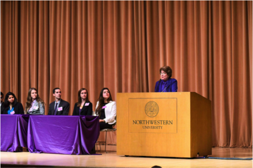 Ambassador Fay Hartog Levin speaking at NUMUN XII Opening Ceremonies on April 9, 2015.
