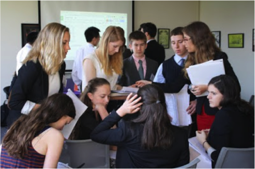 Delegates in an unmoderated caucus.