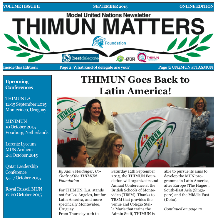 THIMUN Matters - 2015 08 August