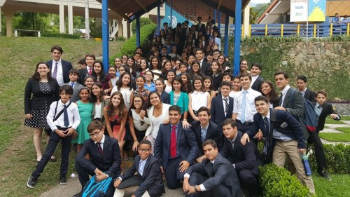 Students from the Model UN workshop at the Escuela Internacional Sampedrana in Honduras.