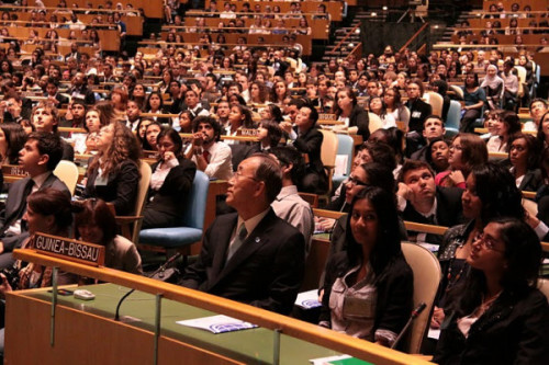 Ban Ki-moon sat with Global Classrooms students at the UN Headquarters