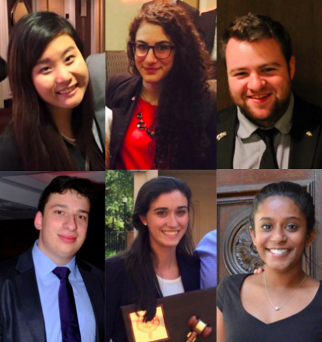 Best Delegate trainers have included (top row): Harvard Head Delegate Charlene Hong, McMUN Secretary-General Marta Canneri, IRSAM VP Stevan Tempesta; and (bottom row): CIRCA President Daniel Brovman, UFMUN President Megan Guyton, and BU IAA President Julie George.