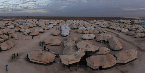 An overview of Za'atari Refugee Camp in Jordan. Panorama taken on 21 November, 2012.