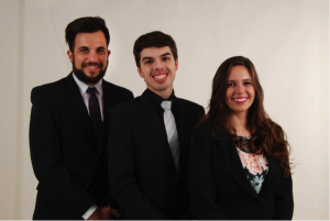 FAMUN 2016 Secretariat. From the left to right: Academic Secretary, Murilo Concon Risso; General Secretary, Renato Peixeiro Filho Pinto; and Administrative Secretary, Maria Rita Martins Favareto.