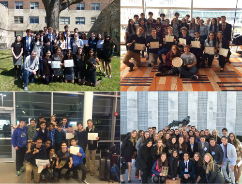 Clockwise, starting at the top-left: Horace Mann at CMUNCE, Stuyvesant at JHUMUNC, Upper Canada College at HMUN, and Mira Costa at NHSMUN