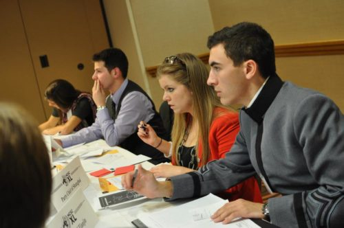 College Model UN can feature crisis committees and well-researched delegates