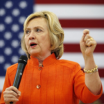 Clinton's closed point hand gesture. Photo from the Washington Post.