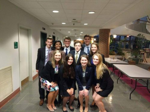 The 30th Secretariat, moments away from Opening Ceremonies! Top Row (L to R): Henry Crossman, Jack Nicol, Jason Nykorczuk Middle Row: Manjari Kumarappan, Greg Wicks, Maddie Burton Bottom Row: Emily Kinney, Alex Neumann, Alyssa Harrison, Claire Kartoz