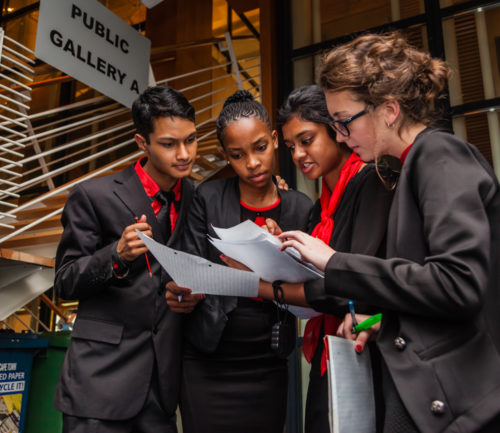 Delegates negotiating at the South African Model United Nations. Photo credit: UNIC Pretoria.