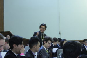 A UNGA delegate delivers a speech to committee