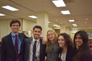 UPMUNC 50 USGs (Left to Right: Noah Levine (Crisis), Santiago Pereira (Crisis), Hannah Kanter (ECOSOC), Fjora Arapi (GA), Risha Rohera (Crisis))