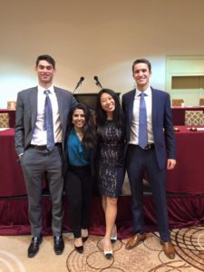 UPMUNC Upper Secretariat (Left to Right: Michael Mintskovsky (Chief Operating Officer), Alisha Chowdhury (Chief of Staff), Madeline Su (Director-General), Kent Hutchison (Secretary-General))