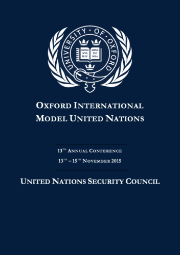 The cover page of the Security Council Study Guide of OxIMUN 2015