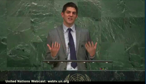Ryan Kaminski speaking at the United Nations