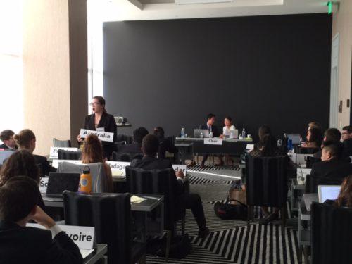 Australia speaks during moderated caucus in Interpol