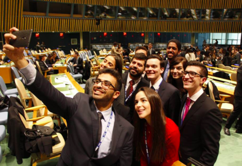 Delegates take a selfie during WIMUN at the UN Headquarters in New York